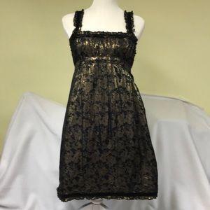 Betsey Johnson Gold Metallic Black Dress Size 6